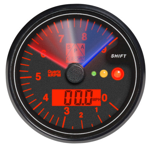 SPA Technique Digital Tachometer with Speedometer and Gear/Shift Gauge 0-16000 RPM (Black Dial/Red Backlight)