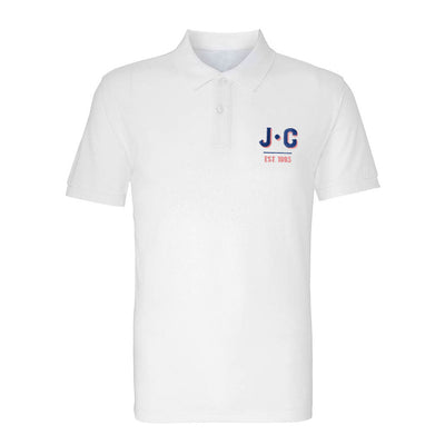 Jockey Club EST 1993 Blue And Red Embroidered Text Men's Polo T-Shirt-Jockey Club Salinas Ibiza Store