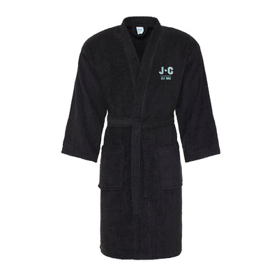 Jockey Club EST 1993 Turquoise And Pink Embroidered Text Cotton Robe-Jockey Club Salinas Ibiza Store