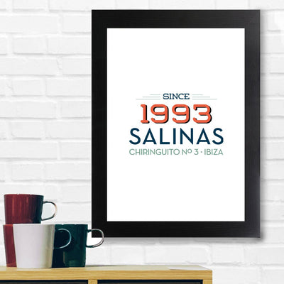 Jockey Club 1993 Salinas Chiringuito No 3 Dark Text A3 and A4 Prints (framed or unframed)-Jockey Club Salinas Ibiza Store