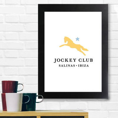 Jockey Club Salinas Ibiza Yellow And Blue Logo A3 and A4 Prints (framed or unframed)-Jockey Club Salinas Ibiza Store