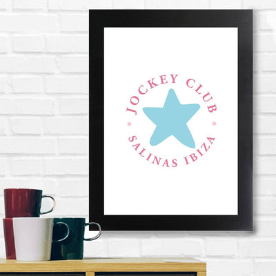 Jockey Club Salinas Ibiza Star Red Text A3 and A4 Prints (framed or unframed)-Jockey Club Salinas Ibiza Store