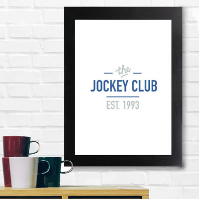 Jockey Club The Jockey Club Est 1993 Blue Text A3 and A4 Prints (framed or unframed)-Jockey Club Salinas Ibiza Store