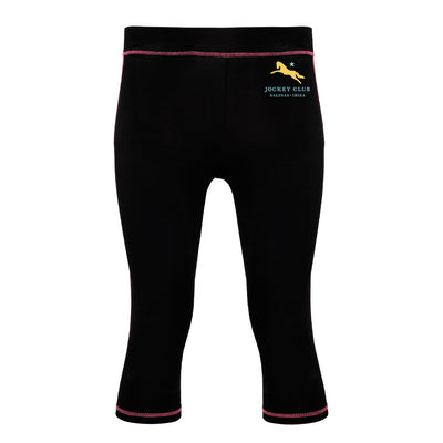 Jockey Club Salinas Ibiza Yellow And Turquoise Logo Women's Capri Fitness Leggings-Jockey Club Salinas Ibiza Store