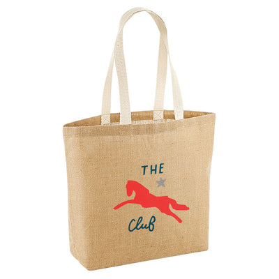 Jockey Club The Club Red Logo Jute Shopping Bag-Jockey Club Salinas Ibiza Store