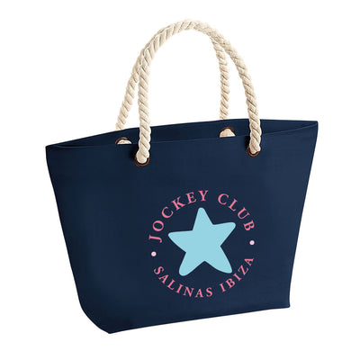 Jockey Club Salinas Ibiza Star Red Text Rope Handle Beach Bag-Jockey Club Salinas Ibiza Store
