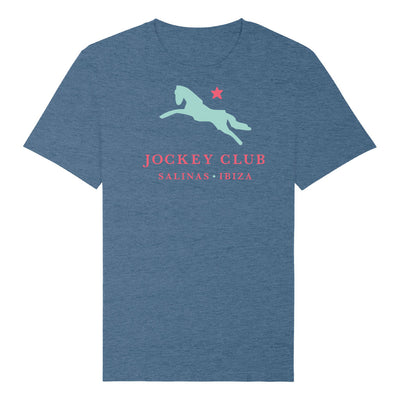 Jockey Club Salinas Ibiza Turquoise And Red Logo Men's Organic T-Shirt-Jockey Club Salinas Ibiza Store