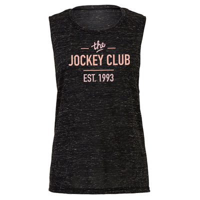Jockey Club The Jockey Club Est 1993 Pink Text Women's Flowy Muscle Vest-Jockey Club Salinas Ibiza Store