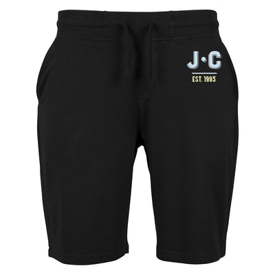 Jockey Club EST 1993 Light Blue And Yellow Text Men's Terry Shorts-Jockey Club Salinas Ibiza Store
