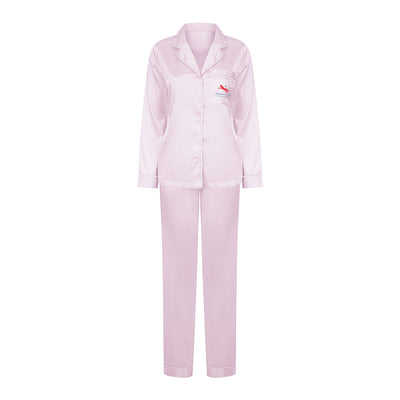 Jockey Club Salinas Ibiza Red And Blue Logo Women's Satin Pyjamas-Jockey Club Salinas Ibiza Store