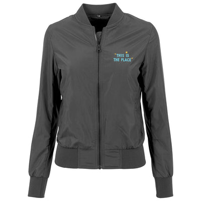 Jockey Club This Is The Place Turquoise Text Front And Back Print Women's Bomber Jacket-Jockey Club Salinas Ibiza Store