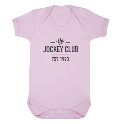 Jockey Club The Jockey Club Est 1993 Black Text Short Sleeve Babygrow-Jockey Club Salinas Ibiza Store