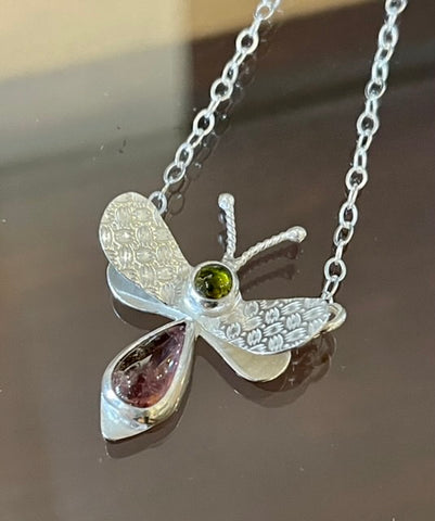 Sterling Silver Bee Pendant with Green and Pink Tourmaline Necklace NM92N