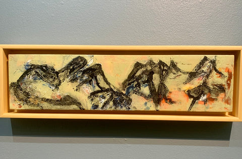"""Mountain View 4"" Framed Encaustic/Oil/Cold Wax on Cradled Panel"