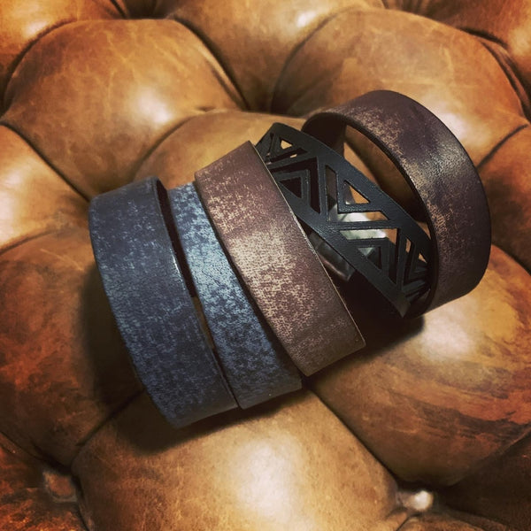 Distressed Brown Leather 20mm with Copper Magnetic Clasp Cuff