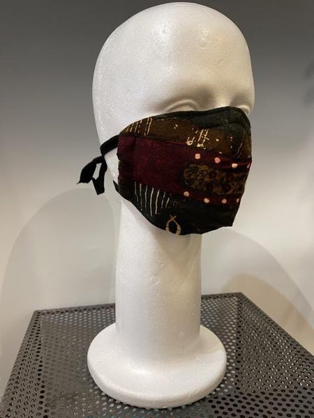 Brown and Red/Multi Color Printed Silk Reversible Face Mask with Tshirt Adjustable ear straps