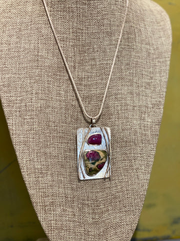 Sterling Silver Pendant with Ruby and Zoisite Necklace N3001
