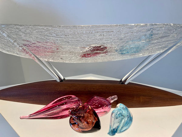 """Bounty Series I""  One of  a Kind Glass Sculpture with Clear and Colored Handmade glass"