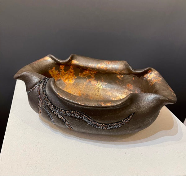"""Offering"" - Micaceous clay/mixed media Ceramic Vessel"