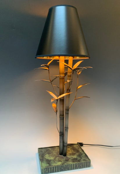 Handmade Steel Bamboo Table Lamp with Black Shade