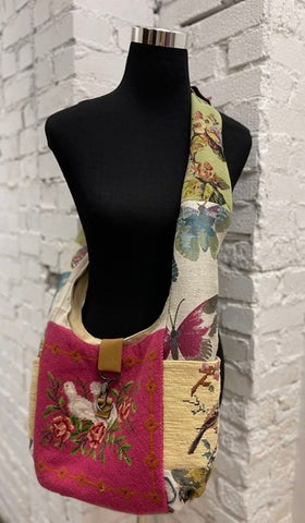 Vintage Tapestry Crossbody Handbag with Adjustable Strap - 5