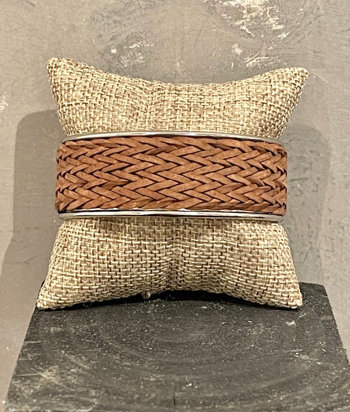 Adjustable Braided Brown Leather 20mm Cuff with White Brass