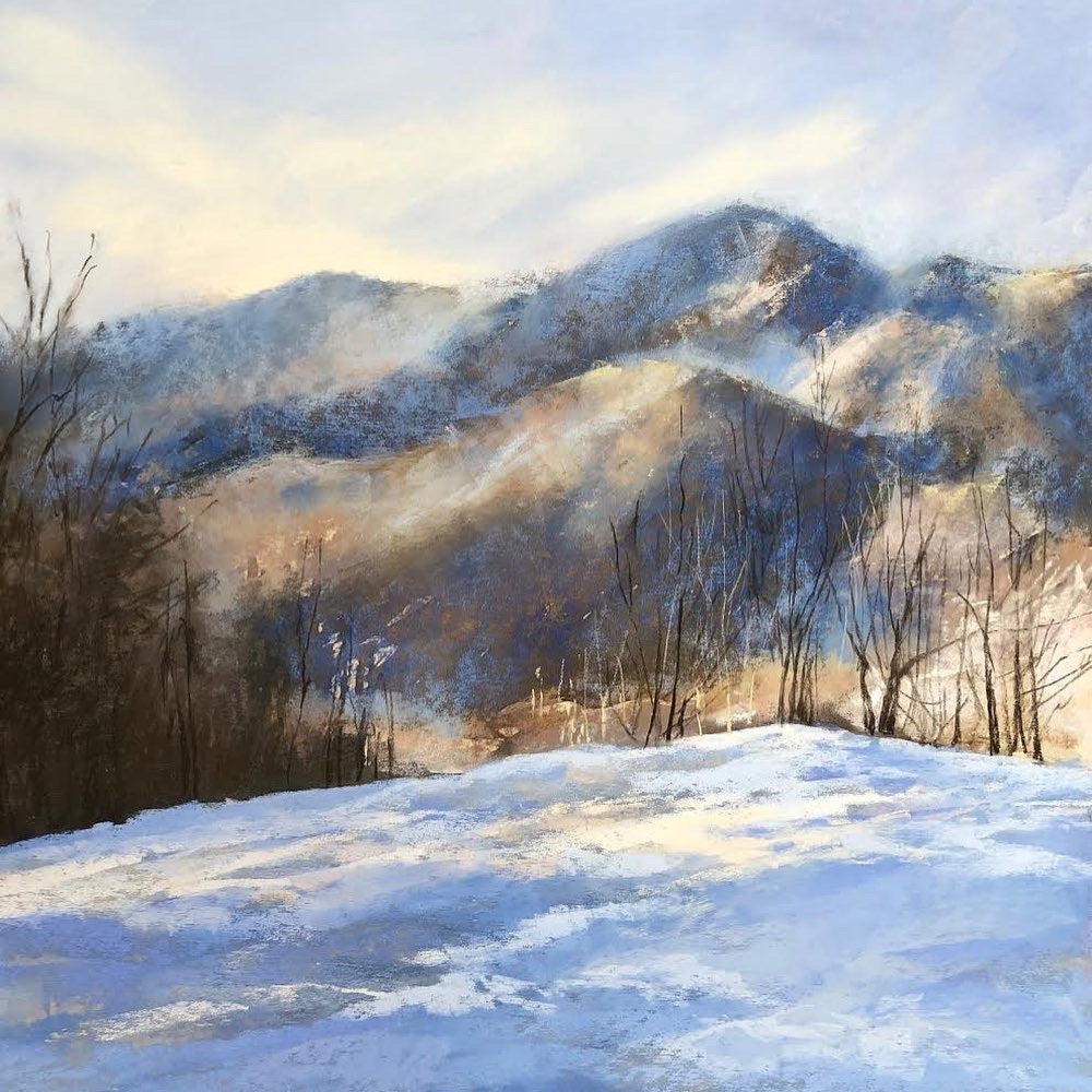 """Snow in the Cove"" - Framed Original Pastel Painting"