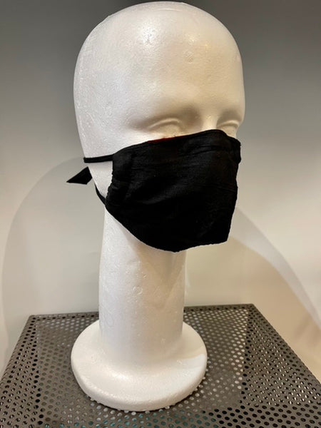 White and Black Print Silk Reversible Face Mask
