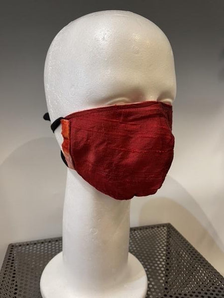 Red Print Silk Reversible Face Mask