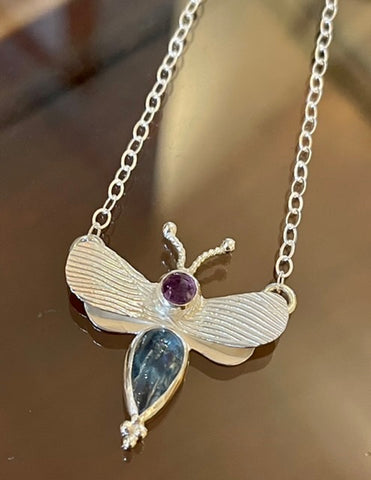 Sterling Silver Bee Pendant with Amethyst and Aquamariine Necklace NM91N
