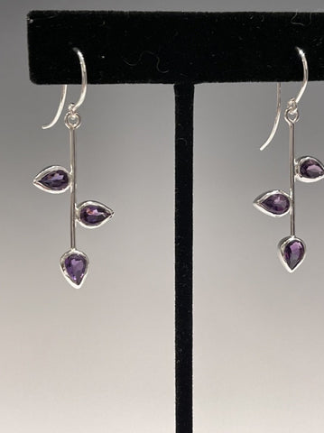Amethyst 3 Petal Earrings- NM104E
