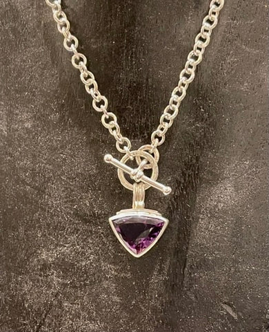 Amethyst Triangle Necklace with Handmade Hammered Chain - NM100N