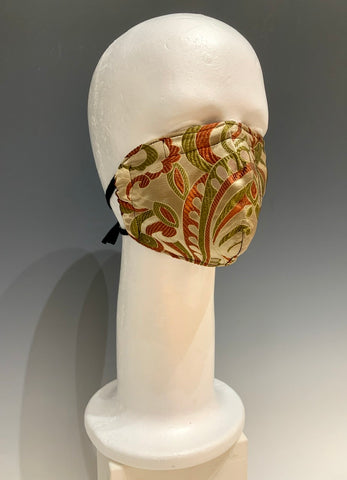 Green Multi Colored Printed Silk Reversible Face Mask with Tshirt Adjustable ear straps