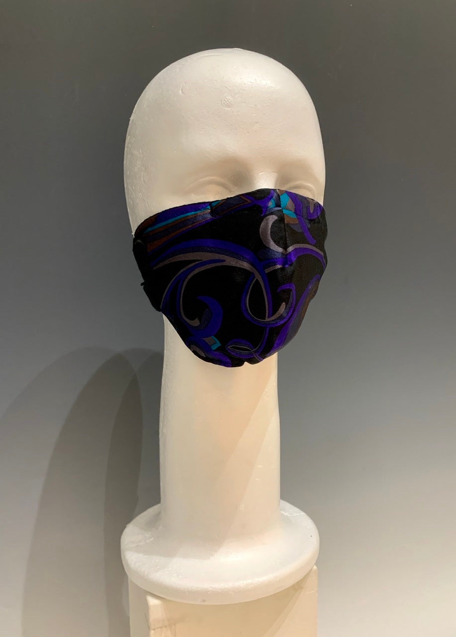 Purple/Multi Color Printed Silk Reversible Face Mask with Tshirt Adjustable ear straps