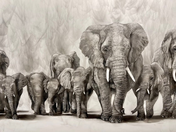 """The Elephant Family"" Original Fumage Drawing on Clay Board"