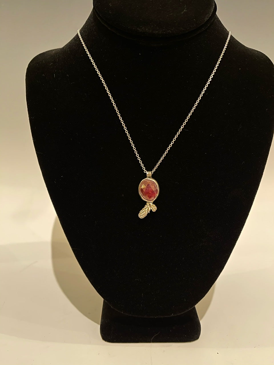"Pink Sapphire Sterling Silver Pendant with 18"" Sterling Silver Chain. MLN03"
