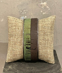 Adjustable Black and Green Cork 20mm Cuff with White Brass