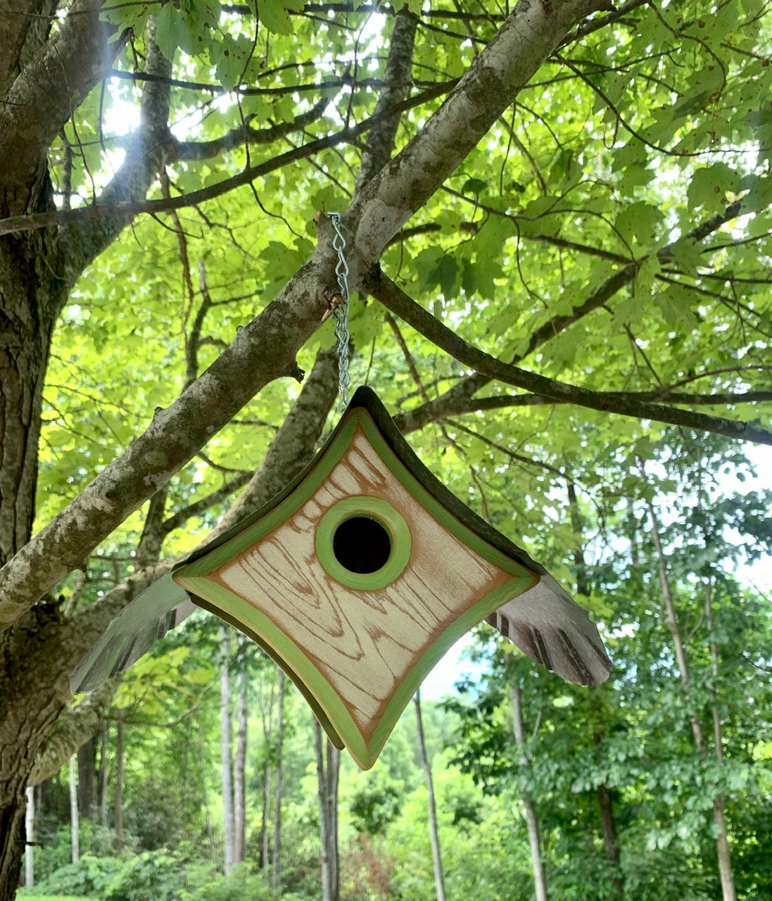 """Peep"" Birdhouse in Burnished White with Green Trim"