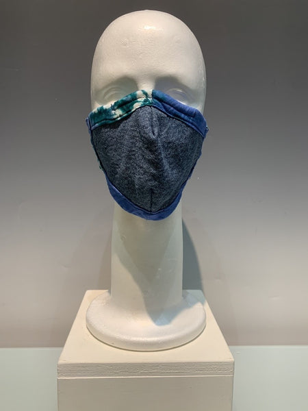 Blue Multi Colored Cotton and Denim Reversible Face Mask