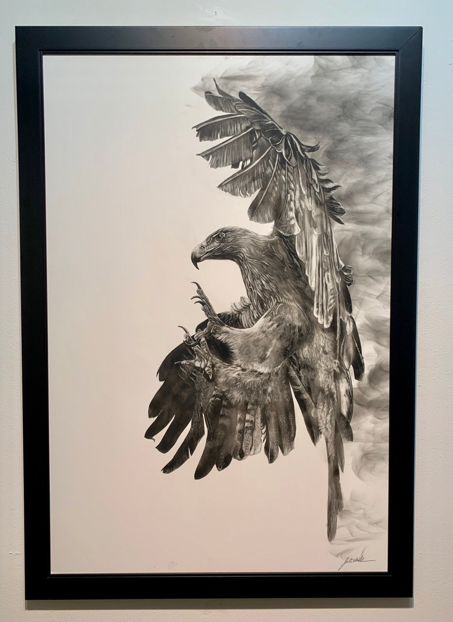 """Golden Eagle"" Original Fumage Drawing on Clay Board"
