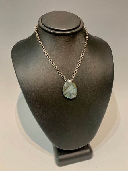 Small Labradorite Adjustable Necklace with Antique white brass chain