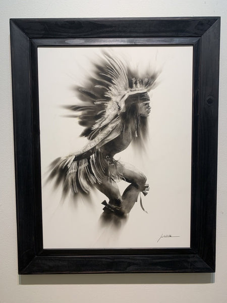 """The Eagle Dance"" Fumage Drawing on Clay Board"