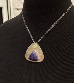 Sugelite and Opal Triangle Sterling Silver Pendant Necklace N 3026