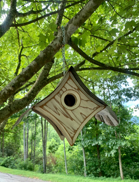 """Peep"" Birdhouse in Burnished White"