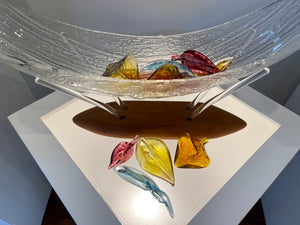 """Bounty Series II"" One of  a Kind Glass Sculpture with Clear and Colored Handmade glass"