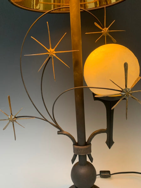 Handmade Moon and Star Table Lamp with Black Shade