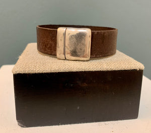 Distressed Brown Leather 20mm with Silver Magnetic Clasp Cuff
