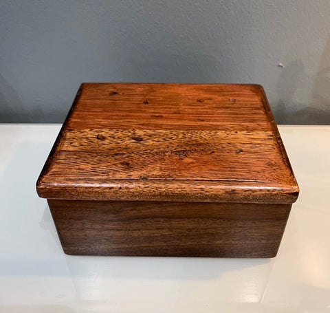 Handmade Walnut with Lyptus Jewelry Box with Pivot Lid BG003