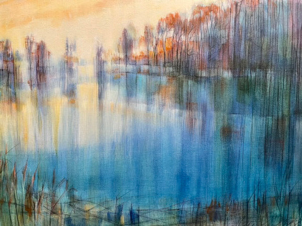 """The Pond Around the Corner"" Original Acrylic and Graphite Painting on Canvas"