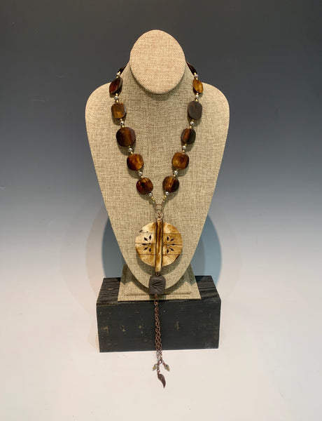 Large Statement Necklace with Wood, Cooper, Brass and Clay
